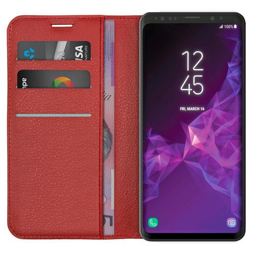 Leather Wallet & Card Holder Case for Samsung Galaxy S9+ (Red)